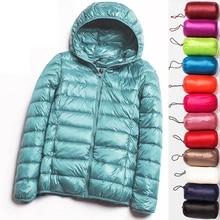 90% 울트라 라이트 플러스 사이즈 얇은 다운 재킷 여성 2020 가을 겨울 슬림 짧은 후드 따뜻한 화이트 오리 코트 여성 겉옷