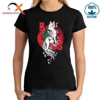 Japan Kanji White Wolf God T-shirt woman Okami Game Tshirt Princess Mononoke Wolf God Forest Spirit Artsy Awesome T Shirt Hombre image