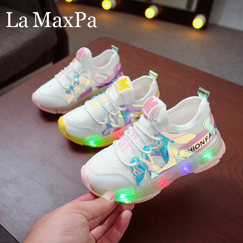 2019 Autumn Kids Led Shoes Lycra Mesh Breathable Children's Shoes With Light Boys And Girls LED Lights Sneakers Chaussure Enfant