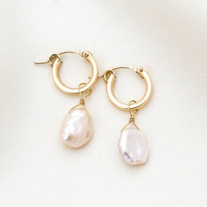 Gold Filled Baroque Pearl Earrings 15MM Gold Hoop Earrings Handmade Jewelry Brincos Minimalism Oorbellen Pendientes Earrings