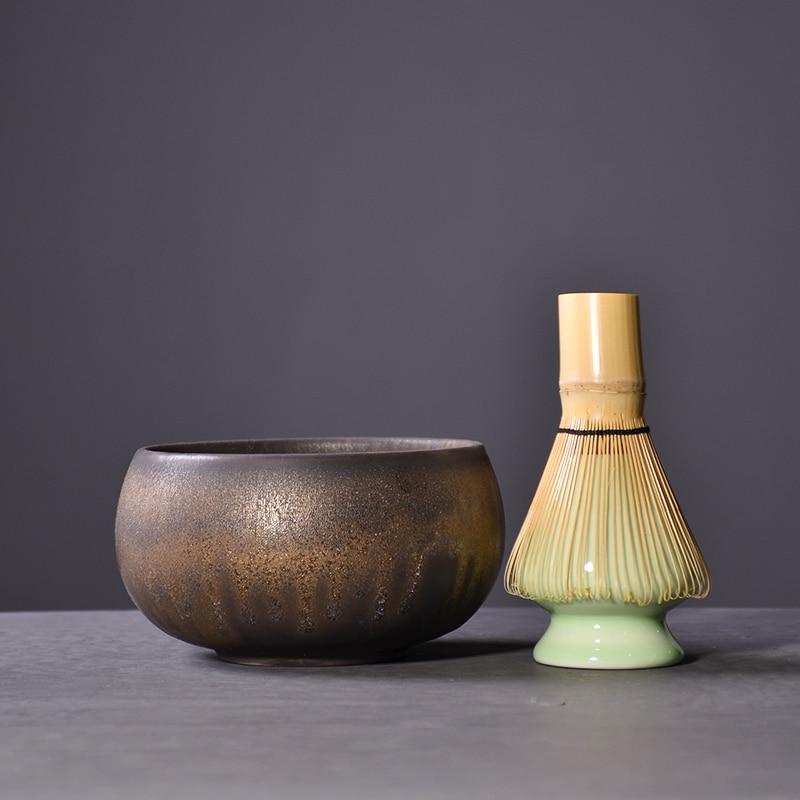 LUWU Traditional Matcha Sets Natural Bamboo Matcha Whisk Ceremic Matcha Bowl Whisk Holder Japanese Tea Sets Drinkware