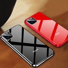 Luxury Tempered Glass Case for iPhone 11 5.8 6.1 inch 2019 Cover 6.5 Pro Max 9H Plating Mirror Glossy fundas