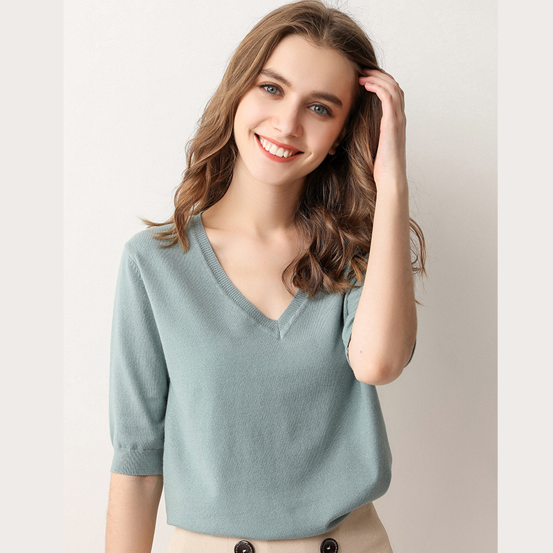 Spring Summer New Short Sleeve Cashmere Sweater Women's Low Collar Loose V-neck Knit Bottoming Shirt Female Pullover Tops