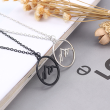 цена на Charm Mountain Shape Necklace For Women Girls Simple Hollow Out Round Chain Pendant Necklaces Choker Female Jewelry Gifts 2019