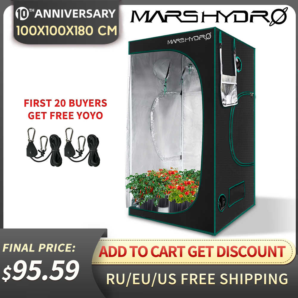 Marshydro 1680D led خيمة الزراعة الدفيئة 3'3''x3'3''x5'11'' (100x100x180 سنتيمتر) داخلي حديقة نظام استزراع مائي النباتات التي تنمو الخيام