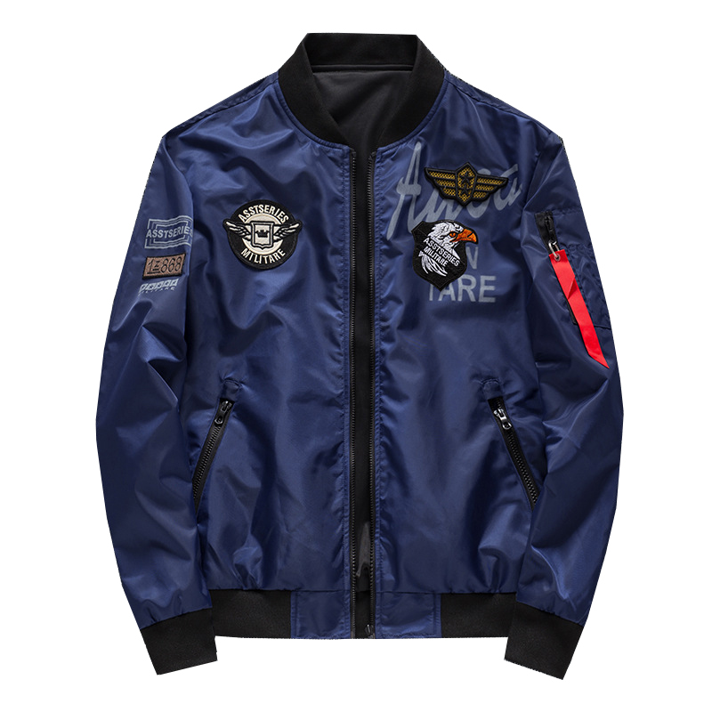 Men's Bomber Jacket Casual Pilot Jackets Men Outwear Both Side Wearable Male Coat chaqueta bomber <font><b>hombre</b></font> Big Size <font><b>6XL</b></font>,ZA232 image