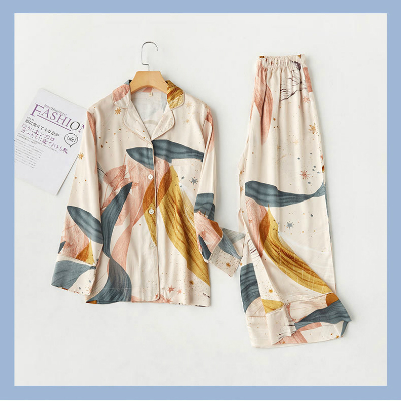 2020 Spring New Satin Printed Lapel Pajama Set Womens Two Piece Long Sleeves Pajamas Loungewear Home Clothes Viscose Sleepwear