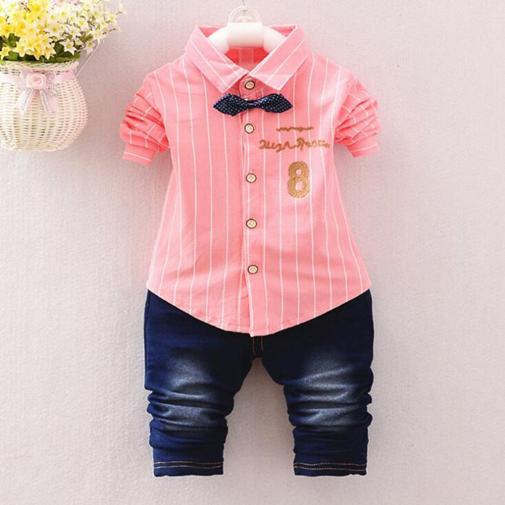 Spring Autumn Boy Baby Cothing Suits For Infant Baby Boys Wear Brand Design Gentleman Casual Sports Shirt Suit Clothes Sets