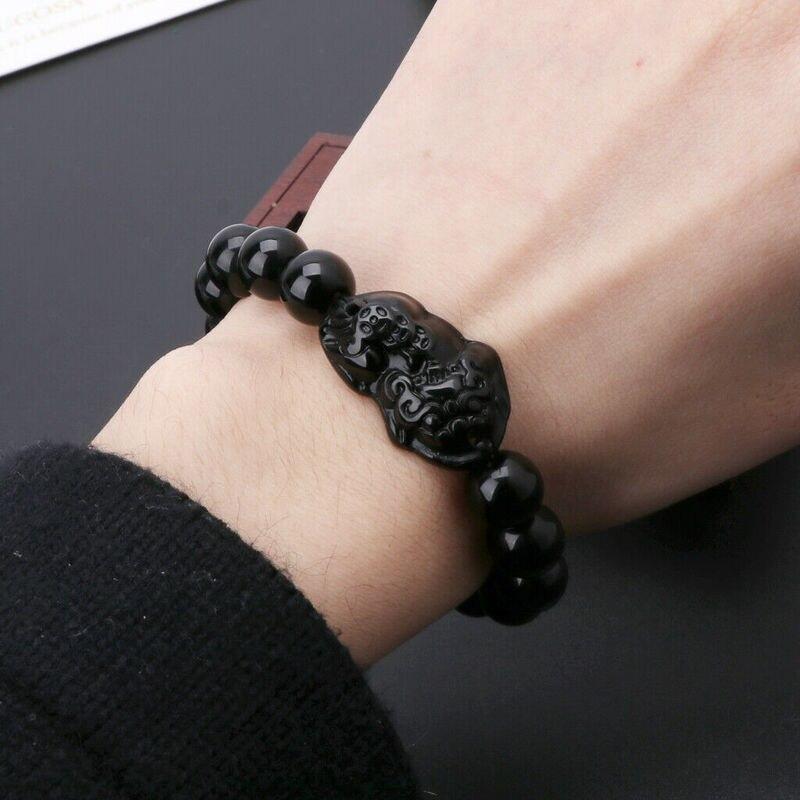 Unisex Obsidian Stone Beads Bracelets Pi Xiu Wristband Wealth and Good Luck Chain Women Men Religious Strand Bracelets 4