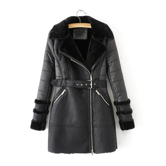 2020 winter elegant women black long coats for fashion ladies faux fur jackets with belts female warm outfits girls chic clothes