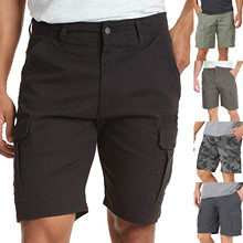 Men's Pocket Zipper Stretch Casual Tooling Five-Point Shorts Solid Color Mid-Waist Loose Casual Shorts