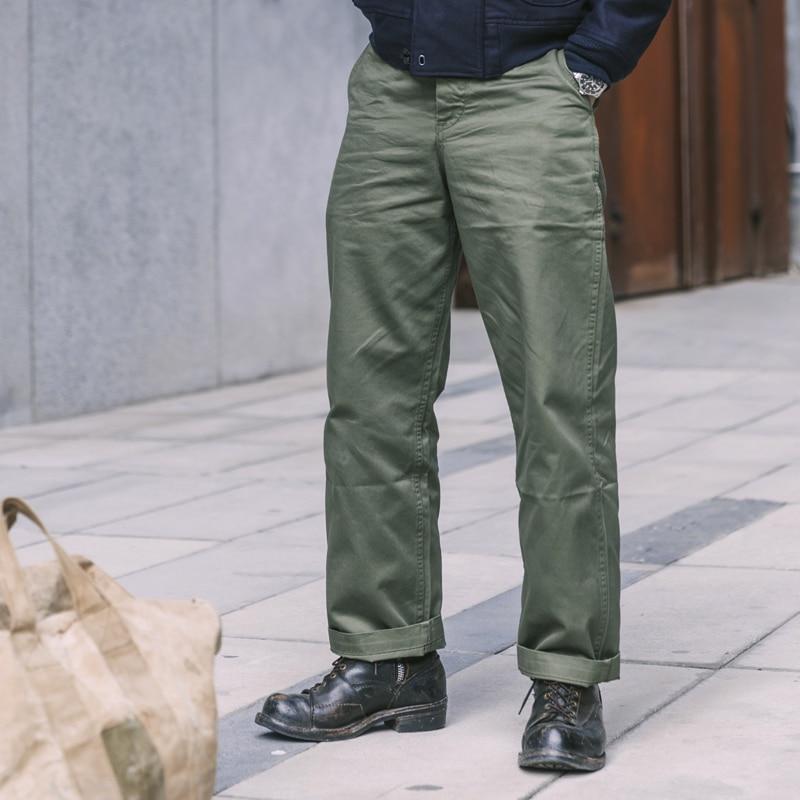 1942 Bronson WW2 Us Military Trousers Mens 12oz Cotton Straight Casual Chino Pants