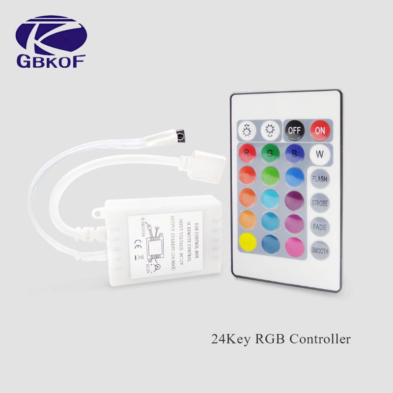 Free Shipping Good 24 Key IR RGB Remote Controller And IR Receiver For 3528 5050 RGB Led Strip Promotion