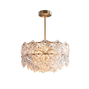 American crystal Copper pendant lights living room lamp bedroom dining room atmosphere light luxury simple modern Hotel lamps