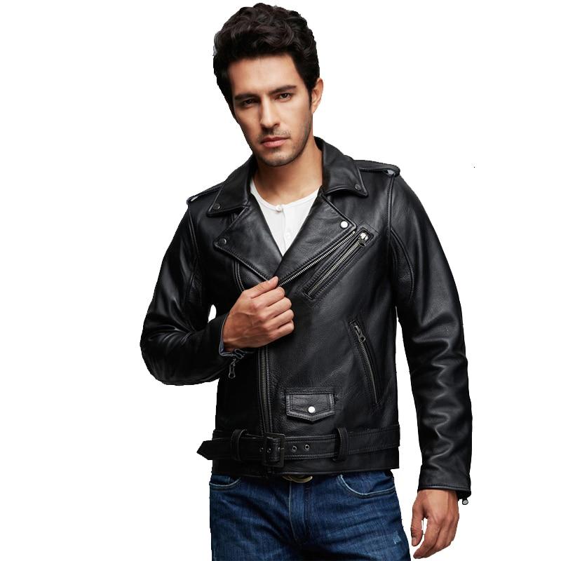 Factory 2020 New Genuine Leather Jacket Men Real Calf Cow Skin Punk Rock Bomber Motorcycle Biker Coat Winter Chaqueta Jaqueta