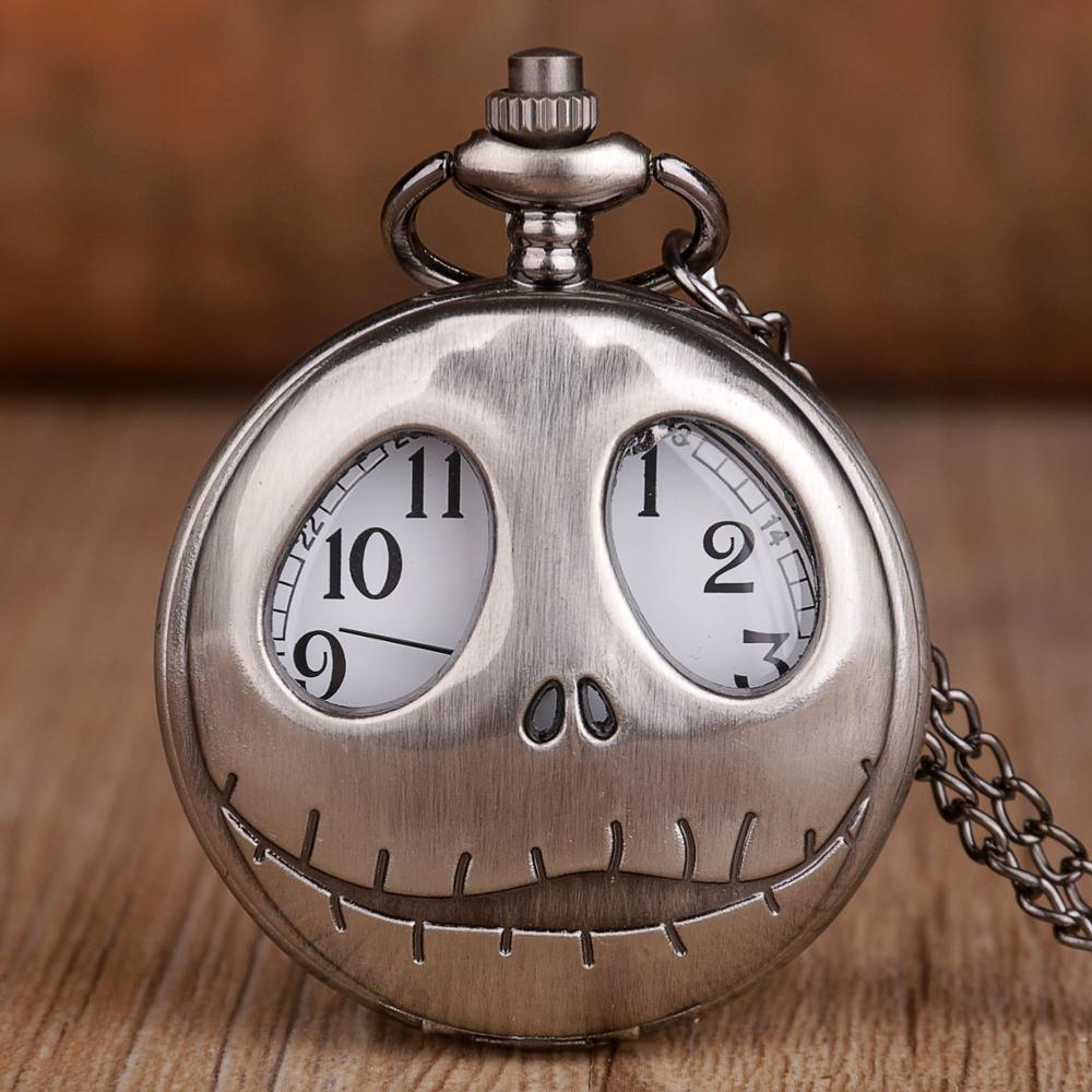 Quartz Pocket Big Eyes Jack Skellington Watch Antique Pendant Pocket Necklace Pocket Watches With FOB Chain Gifts Dropshipping