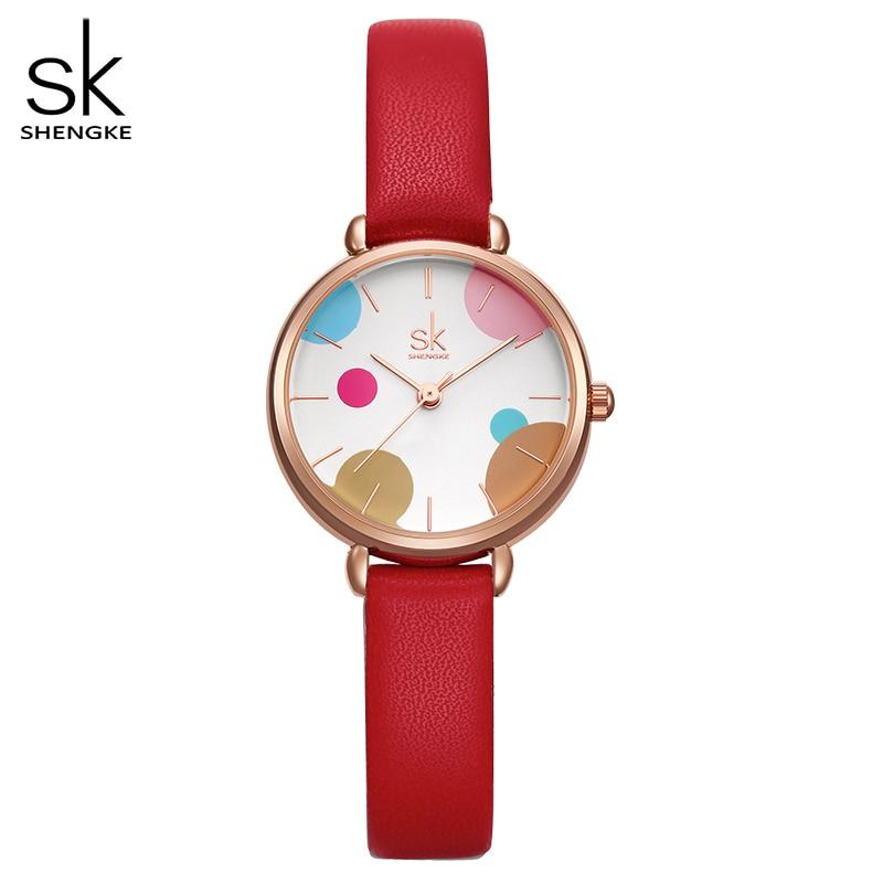 Shengke Women Watch Mesh Leather Bracelet Casual Wrist Watch Women Watches Reloj Mujer Relogio Feminino Free Shipping