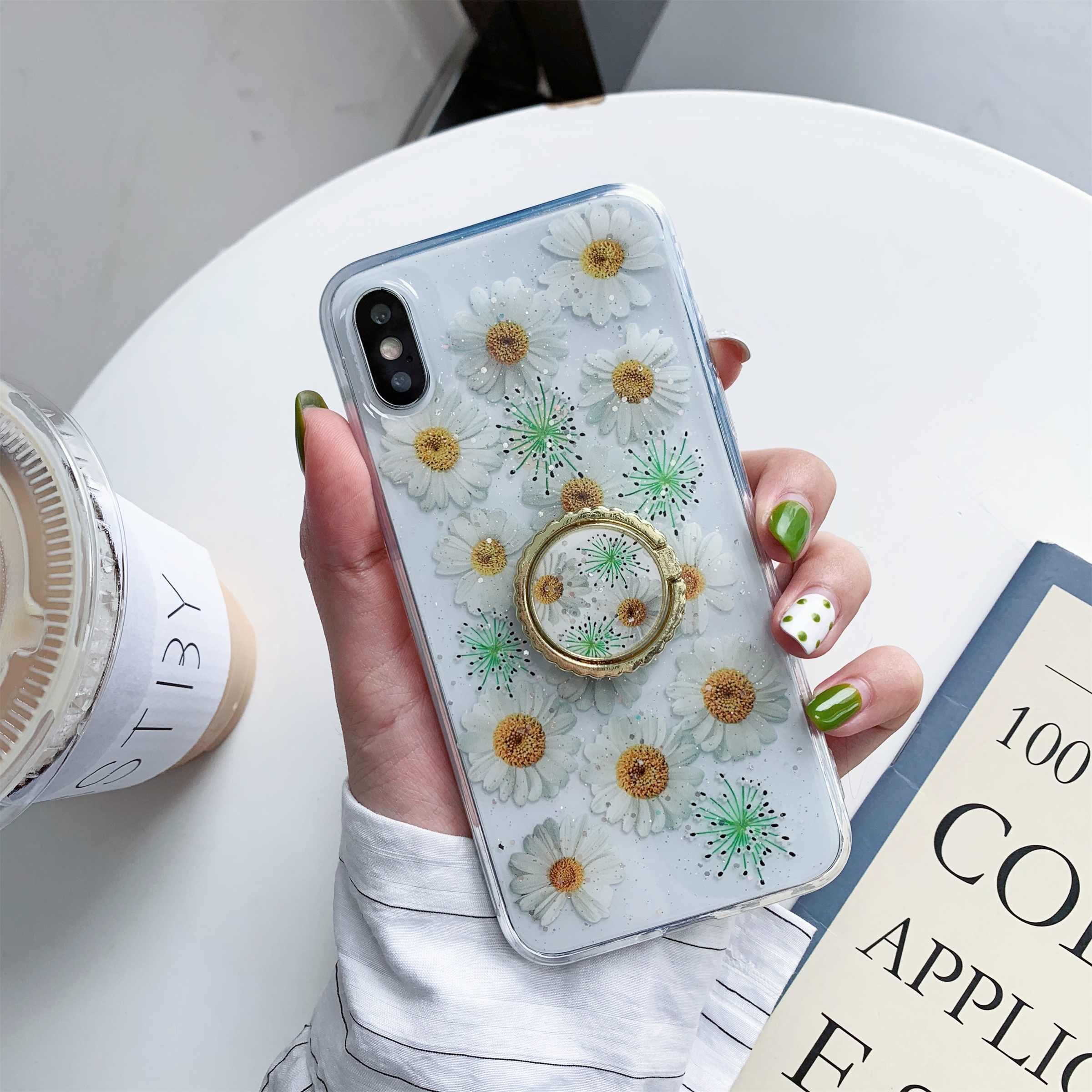 لسامسونج S9 S9plus Note8 Note9 S10 S10plus S10E كوريا الشمس الزهور بريق الراتنج شفافة غطاء إطار هاتف محمول مع البنصر
