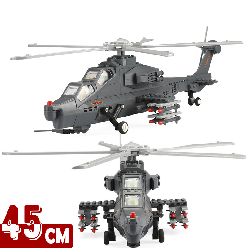 45cm Compatible Building Blocks Military WZ-10 Plane Airplane Helicopter Children Toys Military Model Aircraft image