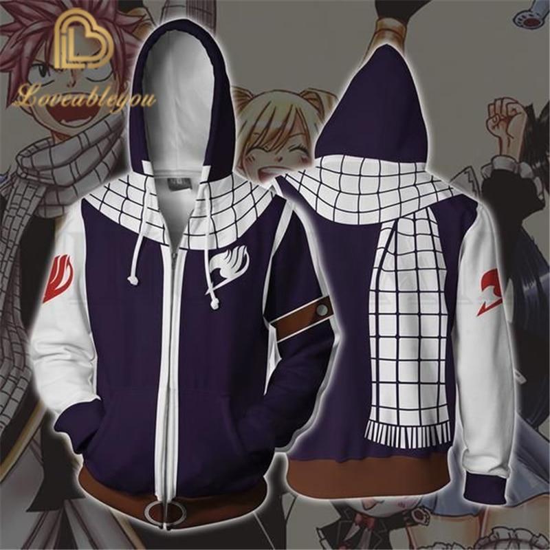 Fairy Tail Guild Natsu Hoodie Short Sleeve T-Shirt Zip-Up SweatShirt Hooded Coat