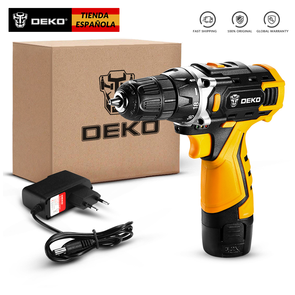 DEKO F Series 12V/16V/20V Cordless Drill Mini Wireless Power Driver Electric Screwdrivers DC Lithium-Ion Battery Top Speed