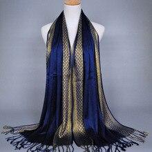 Женские новые продажи кисточки хлопок люрекс плед полоса шарф длинный хиджаб кашне в мусульманском стиле/шарф одеяло шарф Зимний шарф для женщин