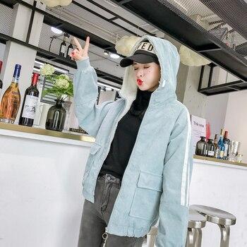2020 Winter Hooded Warm Corduroy Basic Jeans Jacket Lambswool Bomber Jacket Women Long Sleeve Jacket