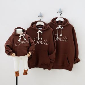 Image 2 - Fashion Sport Hoodies Family Matching Outfits Smile Sweatshirts for a Family of Three Casual Pockets Hooded Clothes Couple Wear