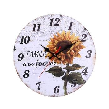 Reloj de pared doméstico con batería pantalla grande girasol Vintage colgante de madera relojes cocina habitación hogar decoración creativa