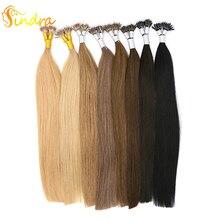 """Sindra Nano Links человеческие волосы для наращивания 1 г/шт. 1""""-24"""" кератин прямые волосы Реми нано-кольца для волос 50 г 100 г/упак"""