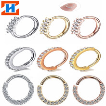 1ps copper hinge segment hoop CZ stone nose stud Nose ring Labret Tragus cartilage Daith helical stud Body piercing jewelry