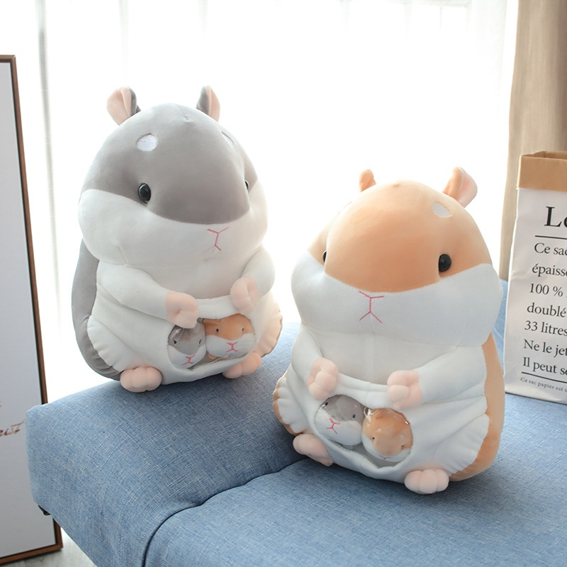 Speedline 25/35/45CM Hamster Mouse Pet Plush Toy Extrusion Sound Soft Stuffed Plush Animal Doll Home Decoration Gift For Kids