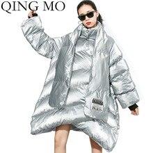 QING MO Серебристые черные женские Необычные парки женские зимние толстые теплые парки с шарфом для женщин размера плюс Свободное пальто ZQY2370