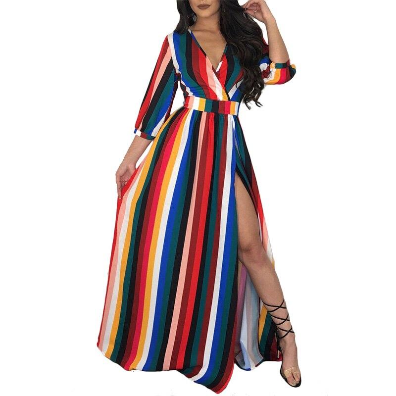 Adogirl Striped V-Neck Women Dresses Summer Strapless High Waist Asymmetrical Sash Female Long Vestido Plus Size Party Dress