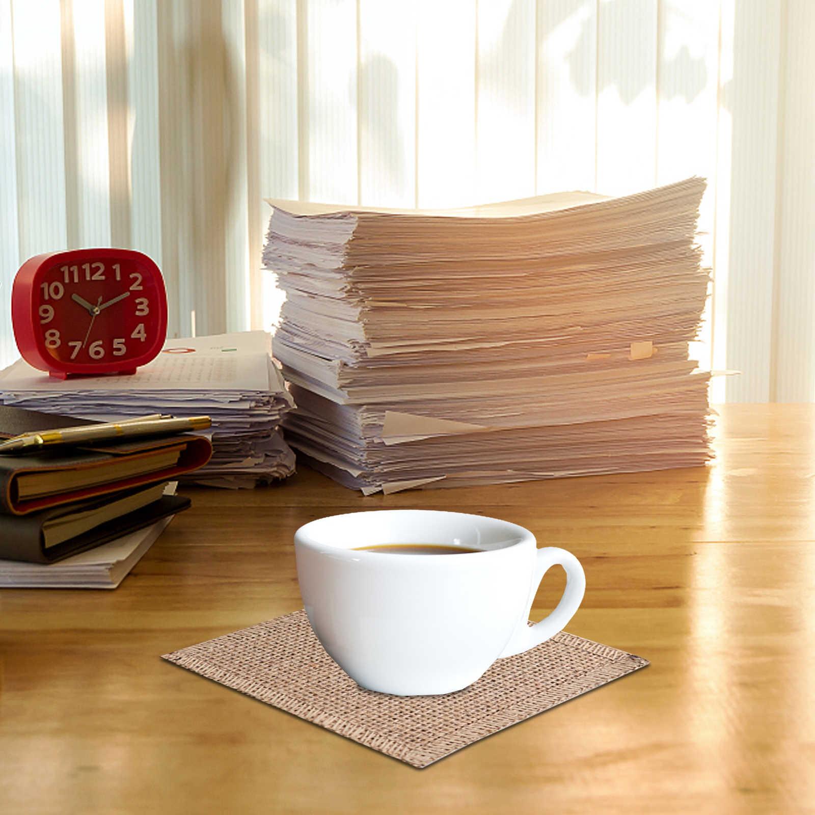 1pcs יוטה שולחן מחצלות תחרה מפיות סטים טבע יוטה ארוג שולחן מחצלות חתונה מסיבת אספקת קפה תה רפידות בית תפאורה
