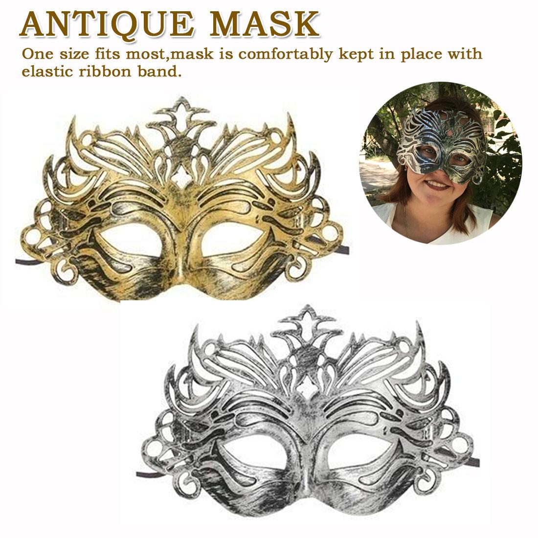 Ccufo oro masculino Griego Soldado Romano Hombres Metálico /& Máscara Mascarada Veneciana