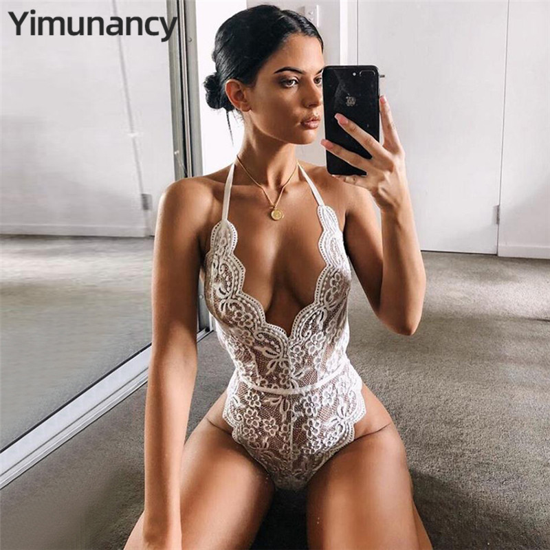 Yimunancy 7 Colors Backless Halter Lace Bodysuit Transparent Female Body Hot Sexy Teddies Jumpsuits Women Deep V Sheer Bodysuits