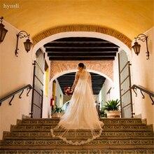 Véu longo catedral com laço véu de casamento véu de marfim capela véu 1 camada véu cílios guarnição do laço véu de noiva