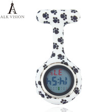 ALK Digital Silicone nurse watch fob pocket watches dog paw doctor gift  medical hospital  brooch lapel clock brand week date