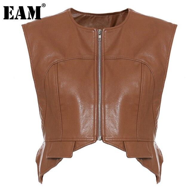 [EAM] Women Loose Fit Irregular Pu Leather  Zipper Vest New Round Neck Sleeveless Fashion Tide Spring Autumn 2021 1DD0726 1