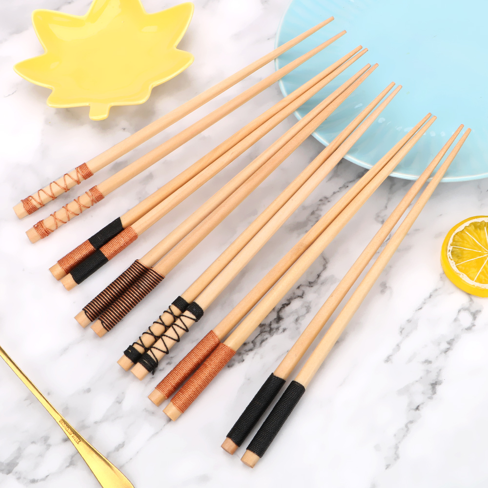 1 Pair Sushi Chinese Food Kitchen Tools Handmade Japanese Style Chinese Cherry Natural Wood Chopsticks Reusable Chopsticks image