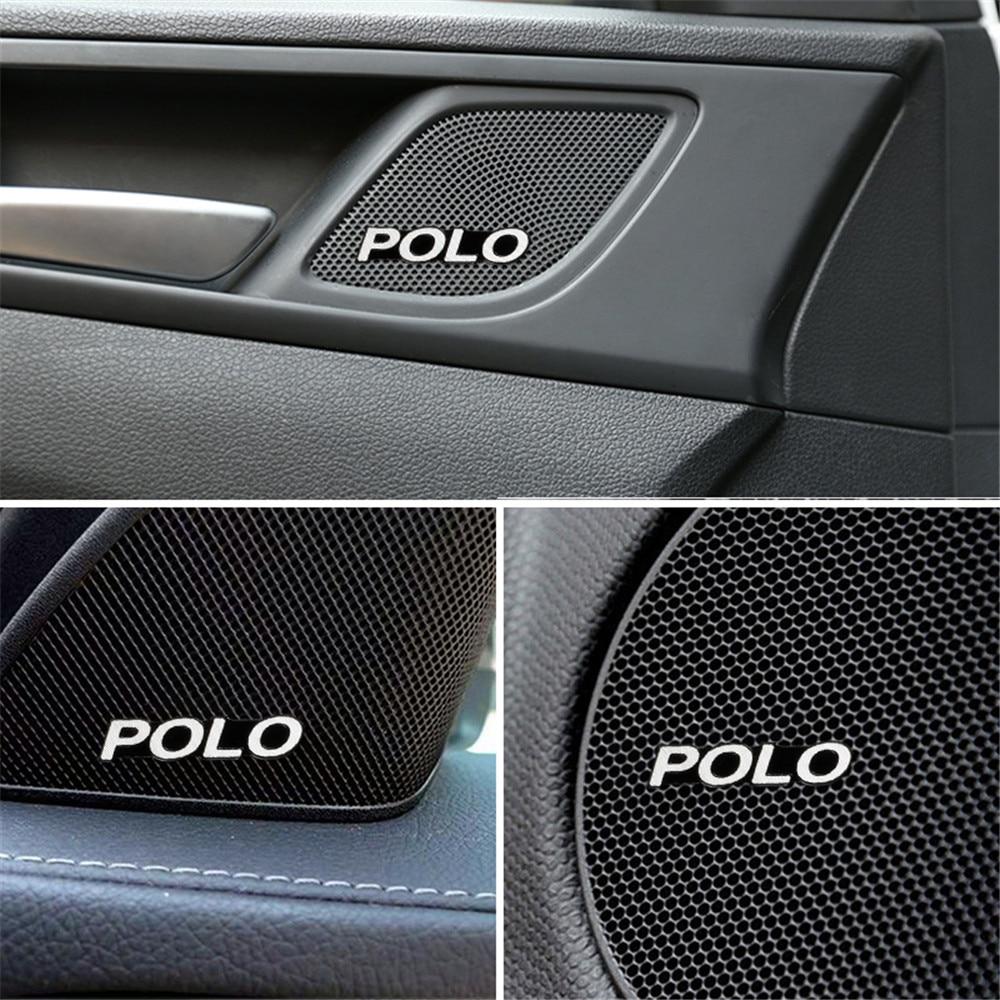10pcs Car Audio Decorate 3D Aluminum Badge Emblem Sticker For Volkswagen VW Polo Passat B6 B7 Touaregu Tiguan Car Styling
