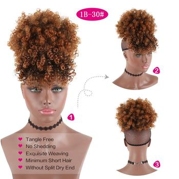 Drawstring Kinky Curly High Puff Ponytail Synthetic Hair Extensions African American Hair Ponytail With Bangs Short  Wrap Clip 1