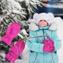 1 пара новинка мода дети дети зима снег теплые перчатки мальчики девочки лыжи ветрозащитный водонепроницаемый утолщенный варежки удерживающий палец теплый