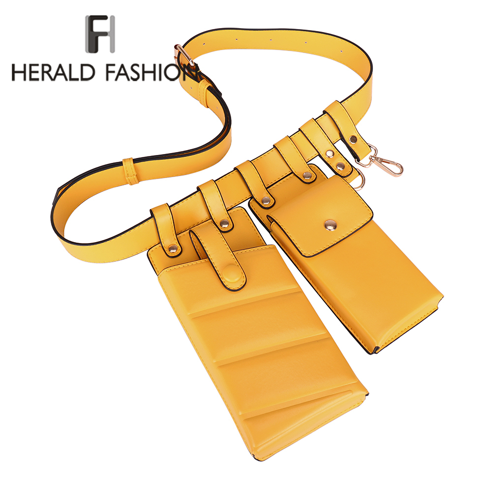 Herald Fashion Women Solid Waist Bag PU Leather Belt Bag Cross Body Chest Bags Fanny Pack Mini Phone Bag For Female Brand New