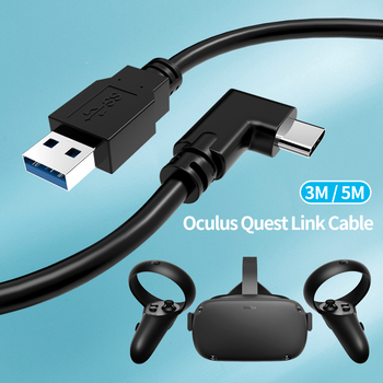 Right Angle Elbow 5meter USB Type-C to A Cable 3m For VR Oculus Quest Headset Charge Data USB 3.2 Gen 1 For Oculus Rift VR Link