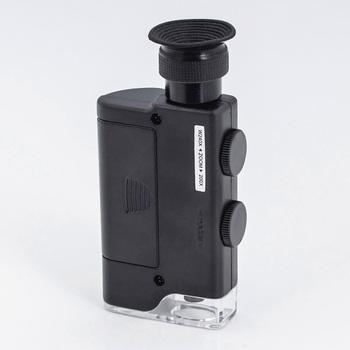Kieszonkowy 200X ~ 240X ręczny lampka led Zoom lupa Mini przenośny mikroskop lupa kieszonkowa tanie i dobre opinie DIDIHOU 500X i Pod Z tworzywa sztucznego Lornetka 200x-240x 3 x AAA battery With LED light Black Optical lens Portable magnifying glass