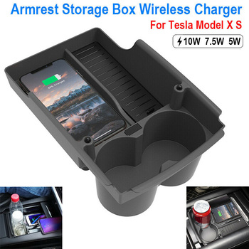 1pc Car Armrest Storage Box Center Console Fast Wireless Charger QI For Tesla Model X Model S Stowing Tidying Wireless Charging