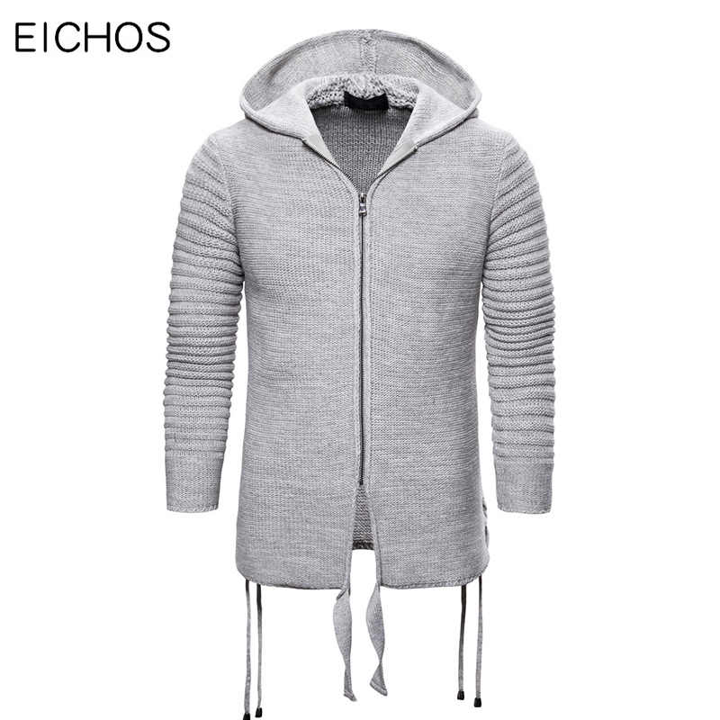 2019 Fashion Side Ribbon Hoodie Sweaters Men Slim Fit  Zipper Hooded Cardigan Men Solid Long Sleeve Thick Cotton Knitted Coat