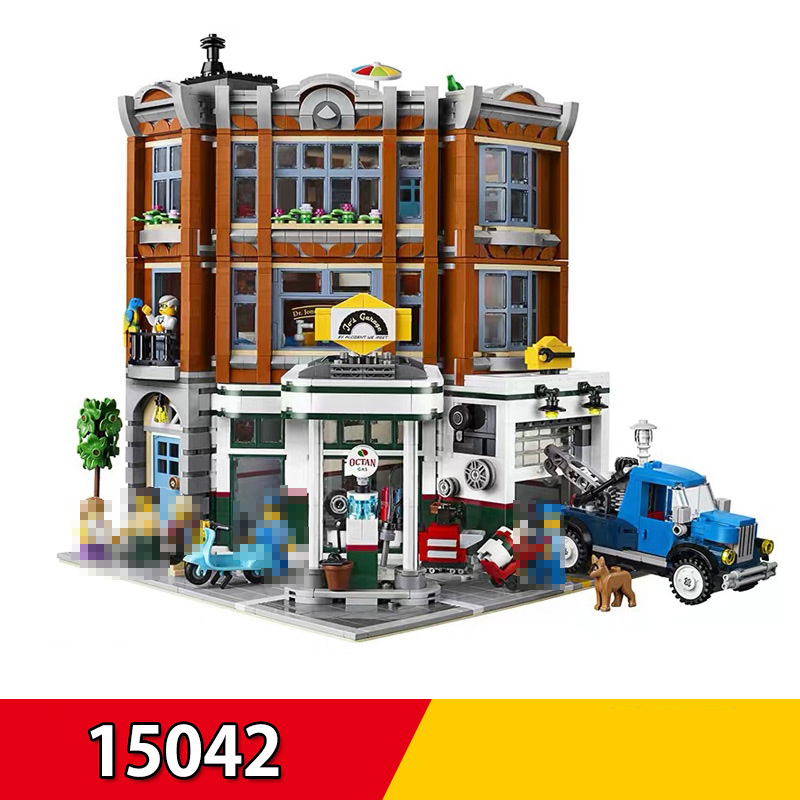 In Stock Leping 15042 2569Pcs City Street View Corner Garage Set Buidling Blocks Bricks Compatible Legoings Toy Kids Present